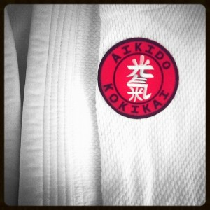 Aikido Kokikai badge on a dogi sleeve